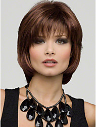Cheap Women Synthetic Wigs Fashion Natural Short Brown Bobo Haircut Wig With Bangs 100% Kanekalon Wig
