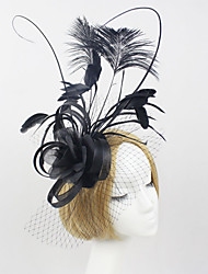 Women Feather/Net Luxury Black Flowers With Wedding/Party Headpiece
