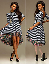 Women's Striped Multi-color Dresses , Bodycon Round ½ Length Sleeve