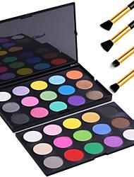 Двухъярусный 30 цветов матовой мерцание теней для век Палитра макияжа комплект комплект + 4шт карандаш макияж кисти