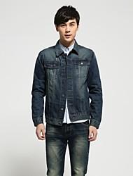 Men's Pure Long Sleeve Jacket , Denim Casual