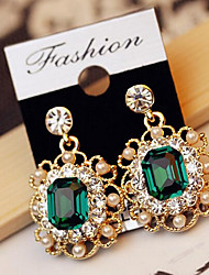 Drop Earrings Crystal Gemstone Pearl Simulated Diamond Alloy Fashion White Gray Green Jewelry 2pcs