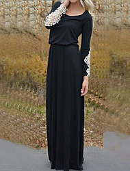 Women's Hot Casual Lace Splicing Long Sleeve Maxi Dress