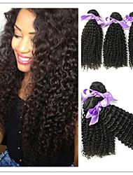 """3pcs / lot 8 """"-34"""" unverarbeiteten brasilianischen reinen Haares natürliche schwarze Farbe africa verworrene lockige Menschenhaar-Webart"""