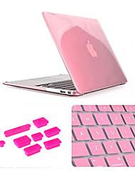 """3 dans 1 cas de cristal avec couvercle du clavier et de la fiche de poussière en silicone pour MacBook Air 11,6 """"(couleurs assorties)"""