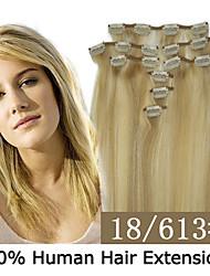 20inch 8pcs / set 100g clip-in hair remy human hair extensions 19 kleuren voor vrouwen schoonheid