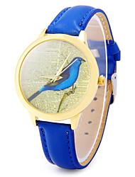 dourado caso relógio de quartzo com pulseira de couro padrão de ave para as mulheres