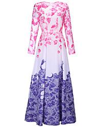 Trapèze / Swing Robe Aux femmes Soirée / Cocktail Sexy,Fleur / Imprimé Col Arrondi Maxi Manches Longues Multi-couleurAcrylique /
