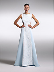 Formal Evening Dress - Plus Size / Petite Sheath/Column Bateau Floor-length Chiffon / Lace