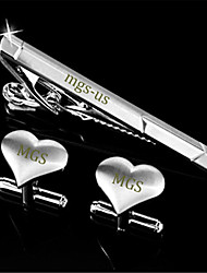 Personalized Gift Men's Engravable Silver Plain Heart Love Pattern Cufflinks and Tie Bar Clip Clasp(1 Set)