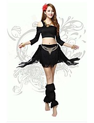 Belly Dance Hip Scarves Women's Performance/Training Polyester/Milk Fiber Lace/Tassel(s) 4 Pieces Black