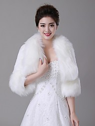Wedding  Wraps / Fur Wraps / Fur Coats Coats/Jackets 3/4-Length Sleeve Faux Fur Ivory