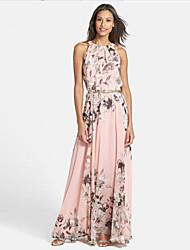 Women's Print Pink Dresses , Casual Round Sleeveless