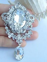Wedding 3.35 Inch Silver-tone Clear Rhinestone Crystal Flower Bridal Brooch