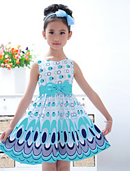 Girl's Peacock Feather Print Sweet Honey Children Princess Dress Blue/Pink 100/110/120/130/140