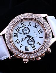 reloj de pulsera de cuarzo de banda de diamantes de la PU de las mujeres