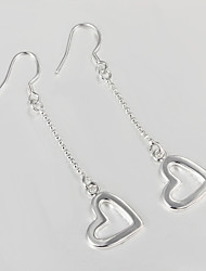 2015 New Products Wedding Dress Love Heart Design Silver Plated Drop Earrings for Lady