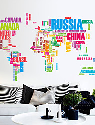 stickers muraux autocollants de mur, les couleurs des lettres autocollantes carte du monde pvc mur