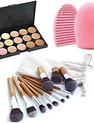 11pcs pinceaux de maquillage sourcil cosmétique fondation de kabuki kits + 15 couleurs palette de maquillage correcteur + outil de