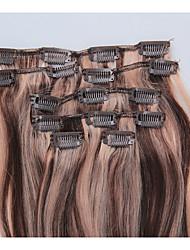 15 pulgadas de clip 7pcs / 70g en extensiones de cabello humano brasileño recto sedoso # 4.27