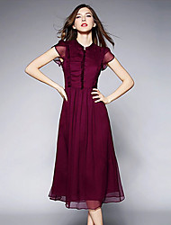 WEILL  Women's Solid Color Red Dresses , Vintage / Sexy / Casual / Party Round Short Sleeve
