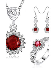 Fashion Geometric Shape Silver Plated Copper Zircon Foreign Trade Jewelry Sets(Red)(1Set)