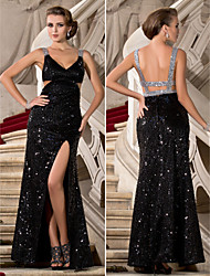 Formal Evening/Military Ball Dress - Black Plus Sizes Sheath/Column V-neck/Straps Floor-length Sequined