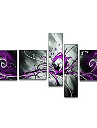 pintado à mão da decoração da parede grande pintura splashoil roxo abstrata na lona 5pcs / set (sem moldura)