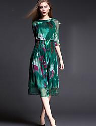 Women's Casual Party Micro Elastic Length Sleeve Knee-length Dress (Silk)