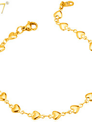 U7® Women's Heart Charm Bracelet for Lovers Stainless Steel 18K Real Gold Plated Romantic Couple Jewelry Chain Bracelet