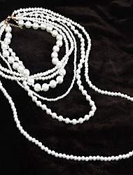 European Style Vintage Fashion Imitation Pearl Layered Necklace