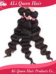 Ali Queen Hair products  6A Brazilian Virgin Hair Bouncy Wave  Natural Black Hair 3pcs/Lot 100% human hair extensions
