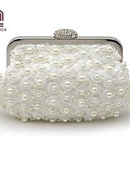 Handcee® Best Seller Elegance Design Satin Rosette and Pearl Decoration Bride Evening Bag