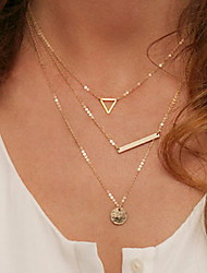 Fashion Street Snap Wind Hollow Out Triangular Sequins Necklace