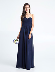 Lanting Bride® Floor-length Chiffon Bridesmaid Dress - Sheath / Column V-neck Plus Size / Petite with Criss Cross