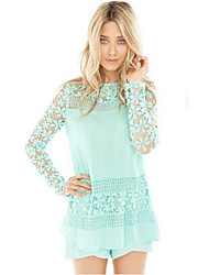 DUIQI Women's Lace White / Green Tops & Blouses , Vintage / Sexy / Bodycon / Lace / Party / Work Round Long Sleeve