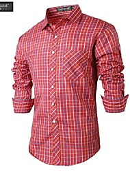JESUNLOM®Man's Shirt Fashion Long Sleeve Red Grid Slim Shirt Korean Style Business Casual All-Match Shirt
