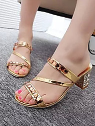 Women's Shoes Gold/Silver Chunky Heel Sandals (Rubber)