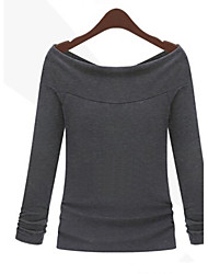 Women's Casual/Daily Simple Fall Blouse,Solid Boat Neck Long Sleeve White / Black / Gray Thin