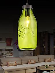 Bottle Design Pendant, 1 Light with Transparent Shade