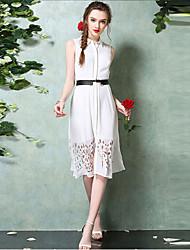 TS Women's Simplicity Micro-elastic Two Piece Hollow Elegant Slim Knee-length Dress(Chiffon)