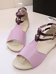 Women's Shoes Faux Leather Flat Heel Gladiator Sandals Dress/Casual Pink/Purple/Beige