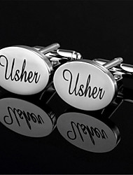 Men's Usher Groom Bride Oval Blk Wedding Suit Shirt Cufflinks
