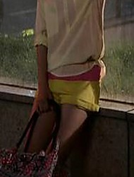 Women's Solid Yellow Shorts Pants,Casual / Day / Cute