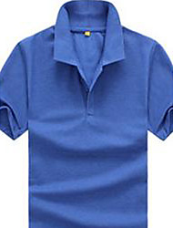 Men's Casual Stand Short Sleeve T-Shirts (Cotton)