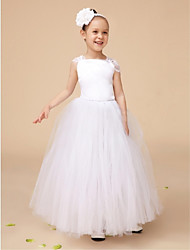 Ball Gown Floor-length Flower Girl Dress - Satin / Tulle Sleeveless Queen Anne with