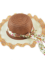 Fashion Summer Style Women Colorful Ribbon Connected Straw Hat