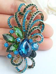 2.56 Inch Gold-tone Blue Green Rhinestone Crystal Flower Brooch Pendant Art Decorations