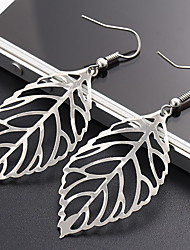 Silver Hollow Out Leaf  Drop Earrings