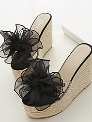 Women's Transparent Silicone Casual Wedge Heel Flower Black Pink Beige